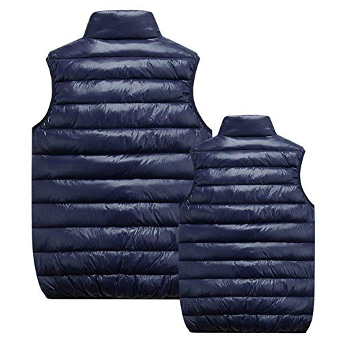 with Slim Zipper Vest Cotton and Winter Vest Men's Sleeveless Outerwear Fit Dunkel Blau Down Jacket Warm Vest Coat Coat OAxF6vwq