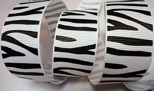 Grosgrain Ribbon Zebra Print - White with Black Stripes 7/8