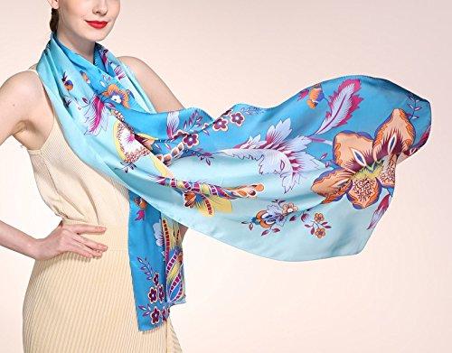 De Soie Des Fleur Longue Motif Clair Orange Vives 3 Sélection Couleurs Écharpe Vert 180cm Pure Prettystern wItxqfPAFF