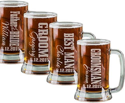 Best Man Gift Glass Mugs Set of 4 Groomsmen Gifts Father of the Groom Wedding Party Gift Beer Mugs Groomsman Gift Rustic Deer Glasses