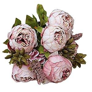 nikunLONG Vintage Artificial Flowers 8 Heads Artificial Peony Artificial Peony Silk Flower Leaf Pink 55