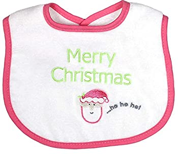Raindrops Merry Christmas Embroidered Bib, Hot Pink