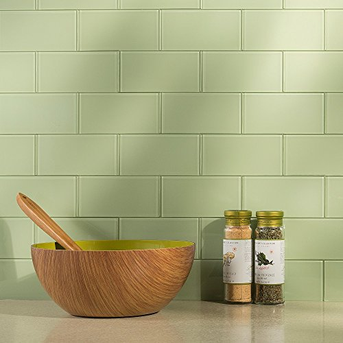 Aspect Peel and Stick Backsplash Kit Fresh Sage Glass Tile for Kitchen and Bathrooms (15 sq ft Kit)