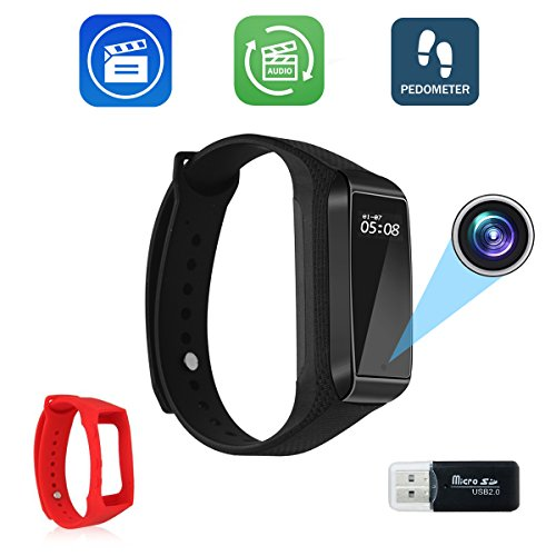 elet Video Recording Camera, HD 1080P Mini DVR Cam with Steps Tracking – Black Adjustable Wristband ()