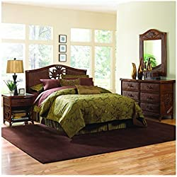 Hospitality Rattan 4 Piece SET-401-B-Q-ATQ Cancun Palm Bedroom Set, Queen