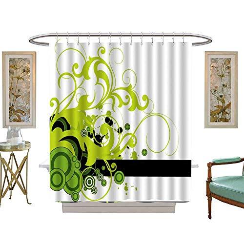Halloween Glitter Clipart (CHENLLRT Shower Curtains for Bathroom Glitter Green Clip Art Graphic Design Plant Floral Design Ornament Graphics Illustration,W65 x L72 Halloween Fabric Shower)