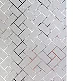 LYCSIX66 No Glue Static Cling Decorative Privacy Window Film 17.7'' x 78.7''/ 45cm x 200cm (Frosted-Grid)