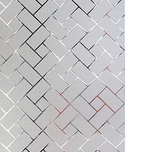 LYCSIX66 No Glue Static Cling Decorative Privacy Window Film 17.7 x 78.7/ 45cm x 200cm (Frosted-Grid)