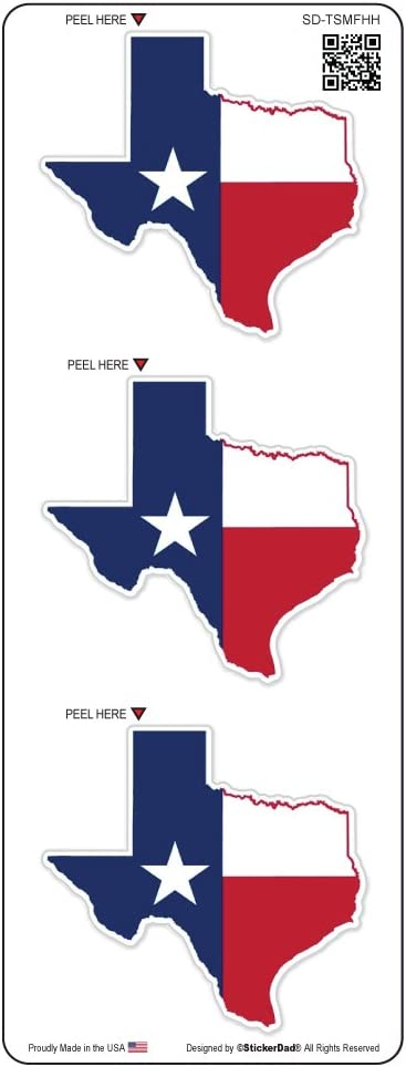 "(3 PACK) TEXAS STATE MAP FLAG by StickerDad - size: 2"" color: RED/WHITE/BLUE - Full Color Printed Sticker for Hard Hat, Helmet, Windows, Walls, Bumpers, Laptop, Lockers, etc."