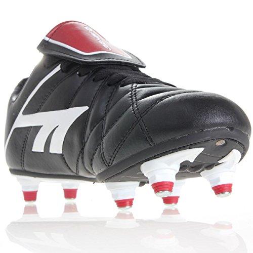 Hi-Tec League Pro-Pallone da calcio, da bambino, colore: nero/bianco/rosso, RRP