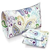 Tribeca Living Paisley Garden Printed Deep Pocket Flannel Sheet Set with Pillowcase, King