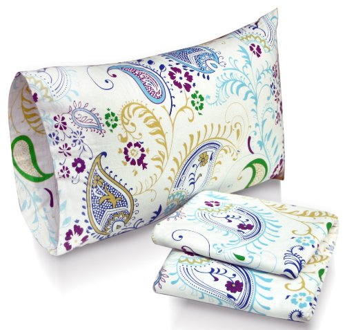 - Tribeca Living Paisley Garden Printed Deep Pocket Flannel Sheet Set with Pillowcase, California King