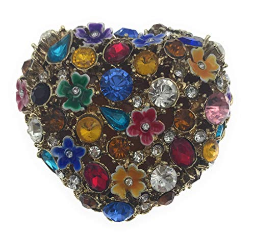 Kubla Crafts Bejeweled Enameled Heart Trinket Box, Accented with Austrian Crystals, 2.25 Inches Wide