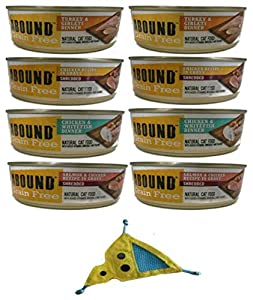 Abound Grain Free Natural Wet Cat Canned Food Variety Pack - 4 Flavor Bundle, 5.5 Oz Each - Pack of 8 - Plus Denta-Net Treat Pocket - (9 Items Total)