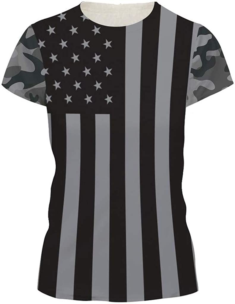 Nmch S-2XL Independence Day Short Sleeve T Shirt Womens O-Neck American Flag Print Casual Comfy Tank Top Blouse
