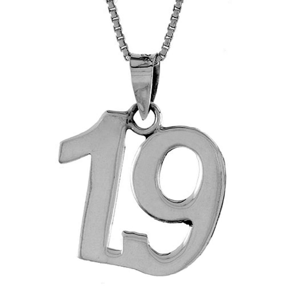 2mm Curb Chain Sterling Silver Number 19 Necklace for Jersey Numbers /& Recovery High Polish 3//4 inch