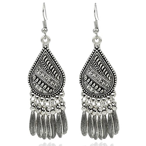LGXH Retro Ethnic Drops Tassel Big Earrings India Mexican African Tribal Boho Dangle Earrings For Women Silver