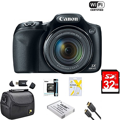Canon Powershot SX530 HS 16MP Wi-Fi Super-Zoom Digital Camera 50x Optical Zoom Ultimate Bundle Includes Deluxe Camera Bag, 32GB Memory Cards, Extra Battery, Tripod, Card Reader, HDMI Cable & More