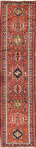 (Rug Source One-of-A-Kind Gharajeh Tribal Handmade 2x9 Red Wool Persian Oriental Runner Rug (9' 6