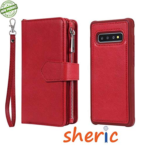 Samsung Galaxy S10+ Plus Wallet Case, Premium PU Leather Zipper Wallet with Card Holder, Wrist Strap + Photo Frame + Magnetic Closure + Rugged Magnetic Detachable Back Case for Samsung S10+ (Red)