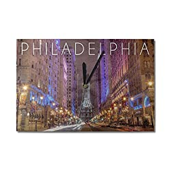 Lantern Press Philadelphia, Pennsylvania - City Hall (10x15 Wood Wall Clock, Decor Ready to Hang)