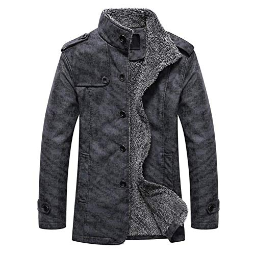 (GOVOW 2018 Clothes Leather Jackets for Men Winter Sale Autumn Winter Casual Button Thermal Coat(M,Dark Gray))