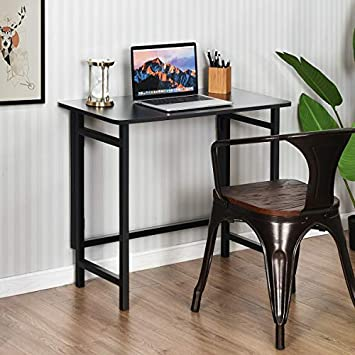TANGKULA Folding Computer Desk, Simple Metal Frame Computer Desk Modern Home Office Laptop PC Workstation Compact Study Writing Reading Table for Small Space, Folding Table Black
