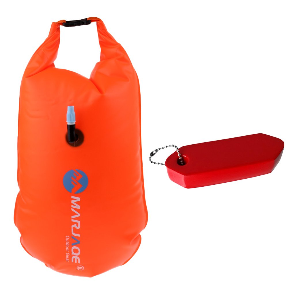 Baosity Waterproof PVC Dry Bag Open Water Swimming Tow Float + Floating Keychain Fob