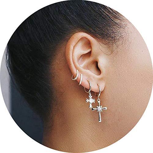 (WAINIS Tiny Hoop Earrings for Women Girls Small Moon Star Heart Boho Dangle Ear Jewelry)