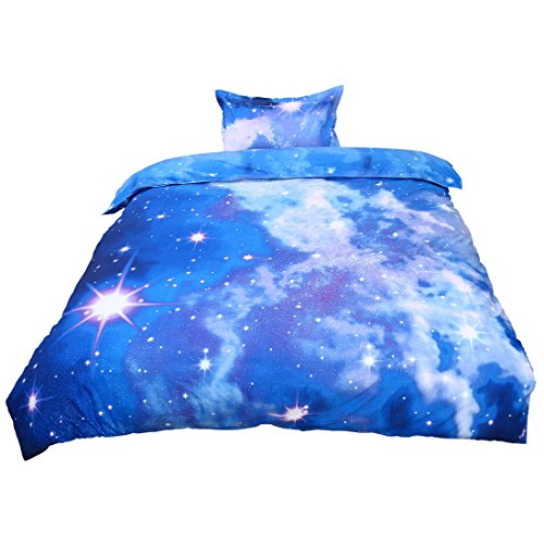 uxcell Galaxy 3D Bedding Sets Bedlinen Mysterious Sky Night Duvet Cover Set Single Size 2 Pieces Sparkly Stars