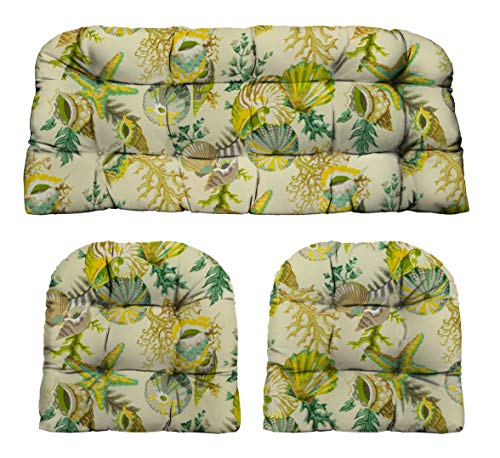 (RSH Décor Indoor/Outdoor Wicker Cushions Two U-Shape and Loveseat 3 Piece Set - Tan Green Yellow Sea Life)