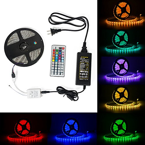 Led Strip lights, 4YOUAL RGB 16.4ft/5m 300leds IP65 Waterproof Light Strips Color Changing Flexible LED Light Strip Kit With Remote RGB Controller, 3M tape, 12V Power Adapter for Indoor and Outdoor -  4YOUALL