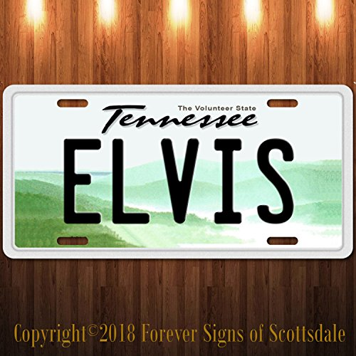 Elvis Presley King of Rock and Roll Tennessee Vanity Aluminum License Plate ()