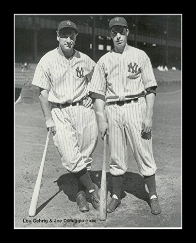 - 8 x 10 All Wood Framed Photo Joe DiMaggio & Lou Gehrig New York Yankees