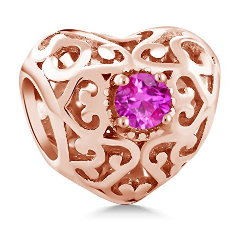 Pink Sapphire Rose Charm - 5