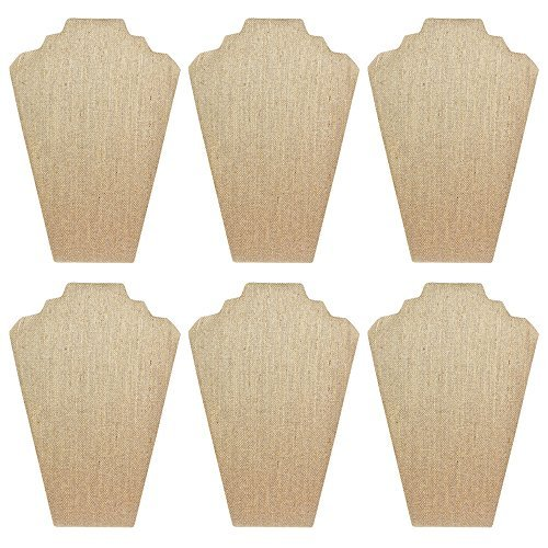 Mooca 6 Pieces Linen Cover MDF Wood with Sturdy Cardboard Easel Necklace Display 8 1/4