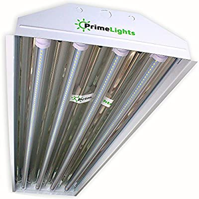 PrimeLights 4 Bulb / Lamp T8 LED High Bay Utility Shop Garage Warehouse Light Fixture 11,400 Lumens, 120-277V