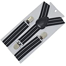 Kids and Baby Elastic Adjustable 1 inch Suspenders 21 White stripe F