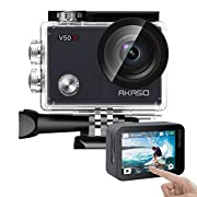 AKASO V50X Native 4K30fps WiFi Action Camera with EIS Touch Screen 4X Zoom Web Camera 131 feet Waterproof Camera Support…