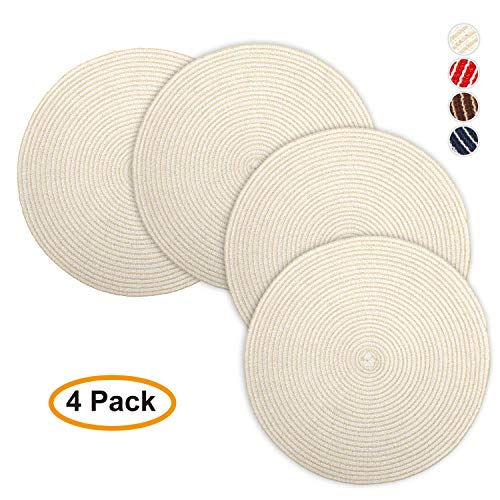 - Jennice House Placemats 15 Inch Cotton Weave Disko Placemats Heat Insulation Stain-Resistant Washable Round Table Mats for Dining Set of 4 (Beige)