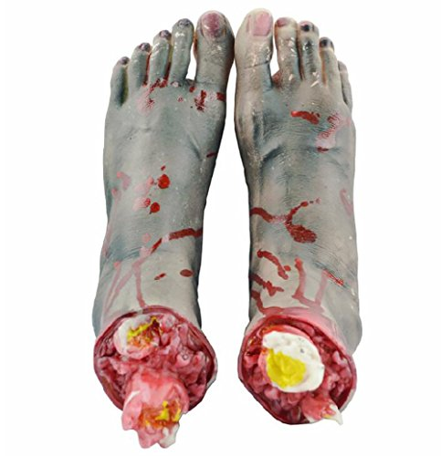 Powerhone Scary Halloween Props Bloody Cut Off Fake Lifesize Zombie Feet, Feet (Life Size Severed Hand)