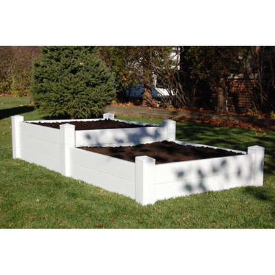 Split Level Planter Bed in White Finish by Dura Trel