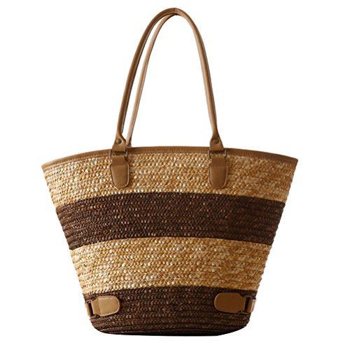 Bags Bag for Women PU Beach Large Bags Woven Beau Casual Capacity Zhhlaixing European sac spécial American Straw Style Striped and Café Simple Owq0f
