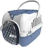 2 In 1 Pet Transport Tour Crate With Storage Compartment - Blue (Made In Italy)