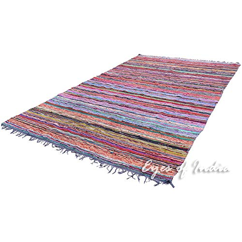 Eyes of India - 5 X 8 ft Blue Colorful Decorative Woven Chindi Accent Area Rag Rug Boho Bohemian