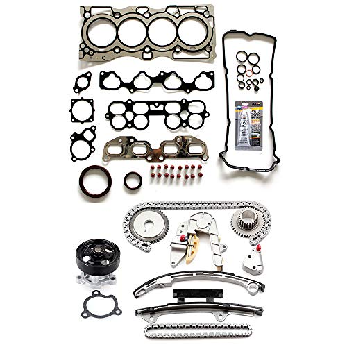 ECCPP Engine Timing Chain Kit Head Gasket Set w/Water Pump for 02-06 Nissan Altima Nissan Sentra 2.5L Head Gasket Set ()