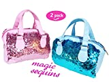Toyme 2 Pack Mermaid Sequin Cosmetic Bags, Sparkling and Fashion Makeup Handbags, Bling Glitter Evening Party Bags for Girls and Women, Pink&Blue