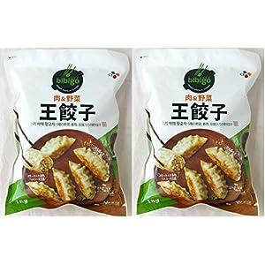 bibigo ビビゴ 肉の野菜 冷凍 王餃 5種の野菜、春雨、豆腐入りの韓食餃子 1kg×2個