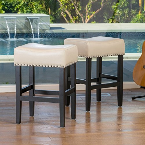 Lisette Backless Ivory Leather Counter Stool (Set of 2) by Christopher Knight Home -