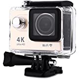 H9 Action Camera 4K Ultra HD 12MP WiFi Sport Cam Waterproof Underwater 30M Dual 2inch LCD Display 170° Wide Angle Lens 30 Accessories Kits (Gold)